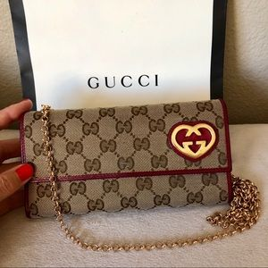 GUCCI GG Canvas & Leather Long Wallet with Chain